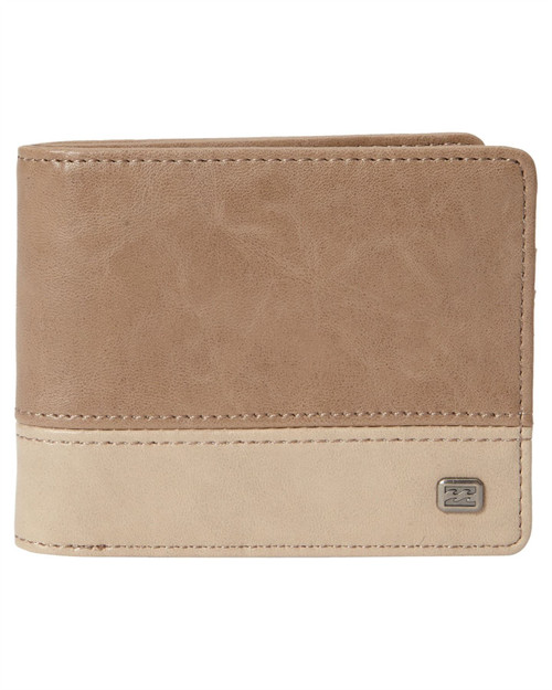 Billabong Bifold Wallet with CC, Note, Coin Pockets ~ Dimension clay
