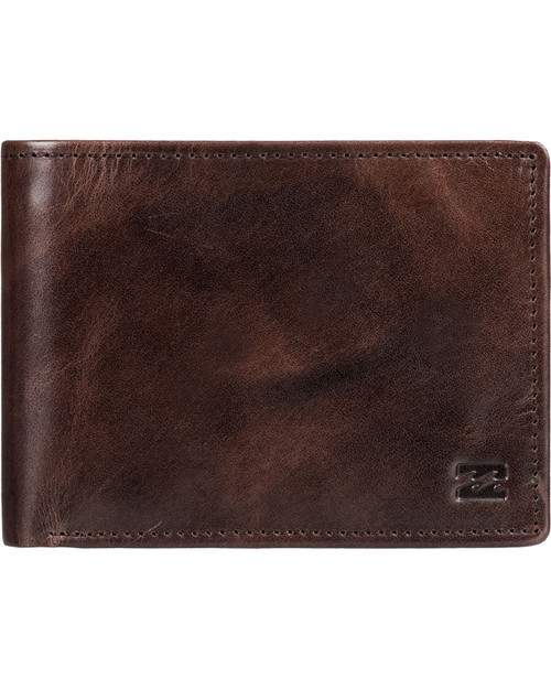 Billabong Bifold Leather Wallet with CC, Note, Coin Pockets ~ Vacant choc