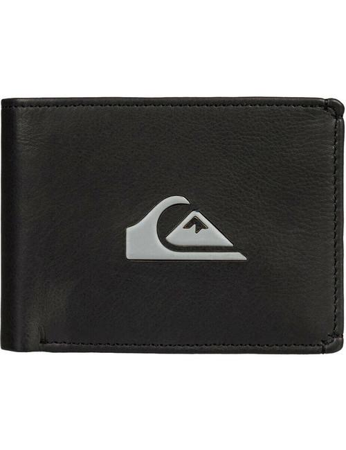 2 Quiksilver Men's Bifold Leather RFID Wallets ~ Miss Dollar II black