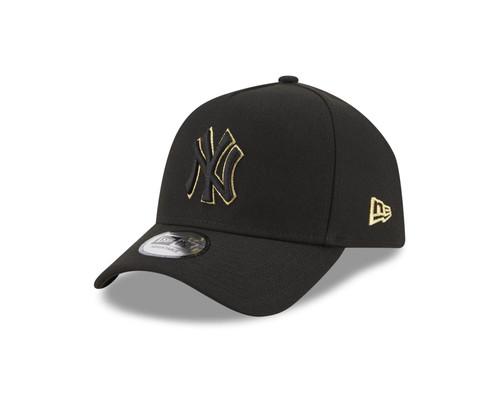 New Era Men's Black and Gold Frame Adjustable Cap ~ New York Yankees