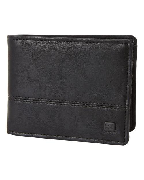 Billabong Bifold Wallet with CC, Note, Coin Pockets ~ Dimension black grain