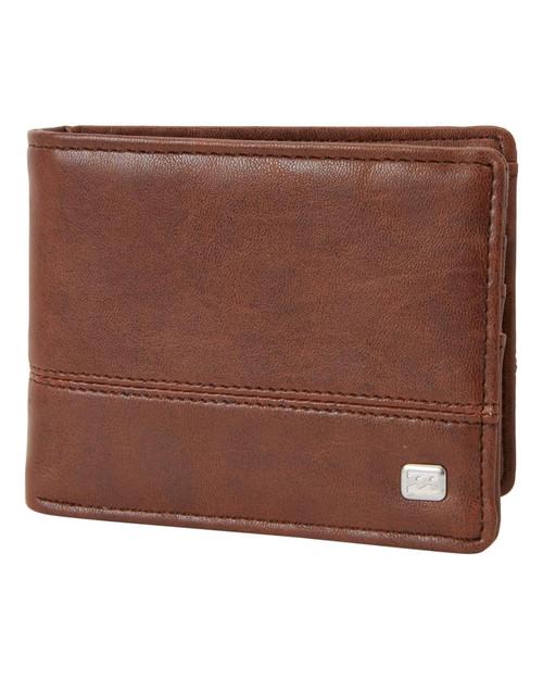 Billabong Bifold Wallet with CC, Note, Coin Pockets ~ Dimension java grain