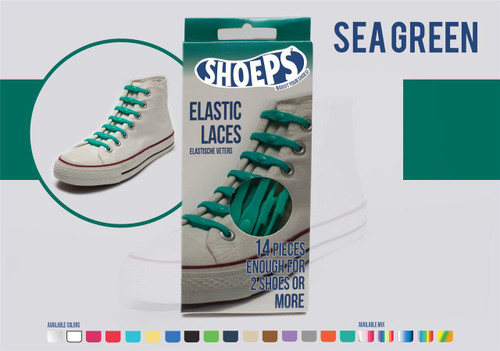Shoeps ~ 1 Box of Sea Green Elastic Replacement Laces Containing 14 Laces