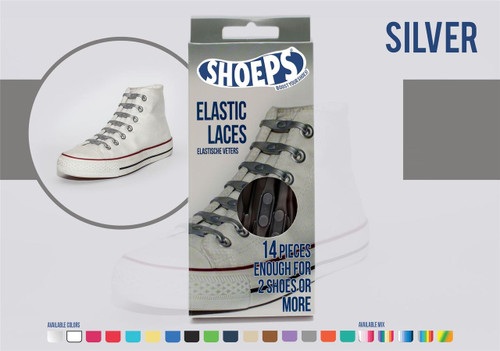 Shoeps ~ 1 Box of SilverElastic Replacement Laces Containing 14 Laces