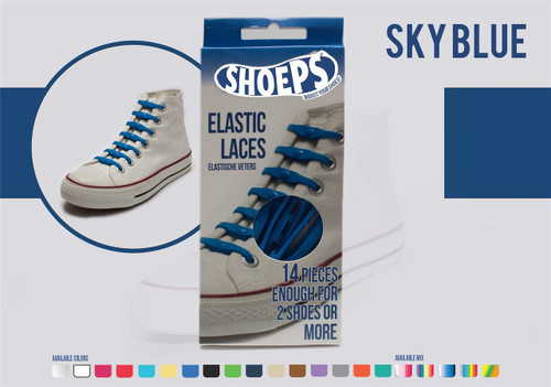 Shoeps ~ 1 Box of Sky Blue Elastic Replacement Laces Containing 14 Laces