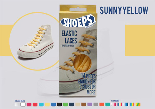 Shoeps ~ 1 Box of Sunny Yellow Elastic Replacement Laces Containing 14 Laces