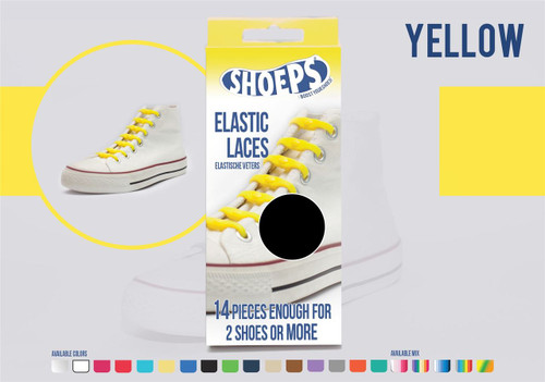 Shoeps ~ 1 Box of Yellow Elastic Replacement Laces Containing 14 Laces