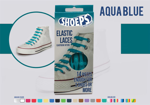 Shoeps ~ 1 Box of Aqua Blue Elastic Replacement Laces Containing 14 Laces