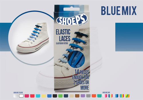 Shoeps ~ 1 Box of Blue Mix Elastic Replacement Laces Containing 14 Laces