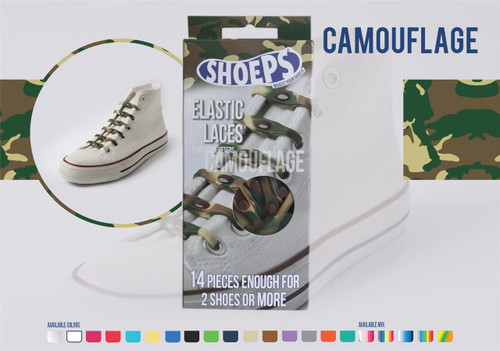 Shoeps ~ 1 Box of Camoflage Elastic Replacement Laces Containing 14 Laces
