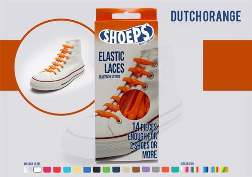 Shoeps ~ 1 Box of Dutch Orange Elastic Replacement Laces Containing 14 Laces