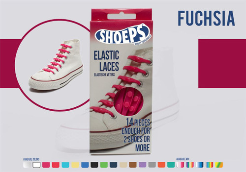 Shoeps ~ 1 Box of Fuchsia Elastic Replacement Laces Containing 14 Laces