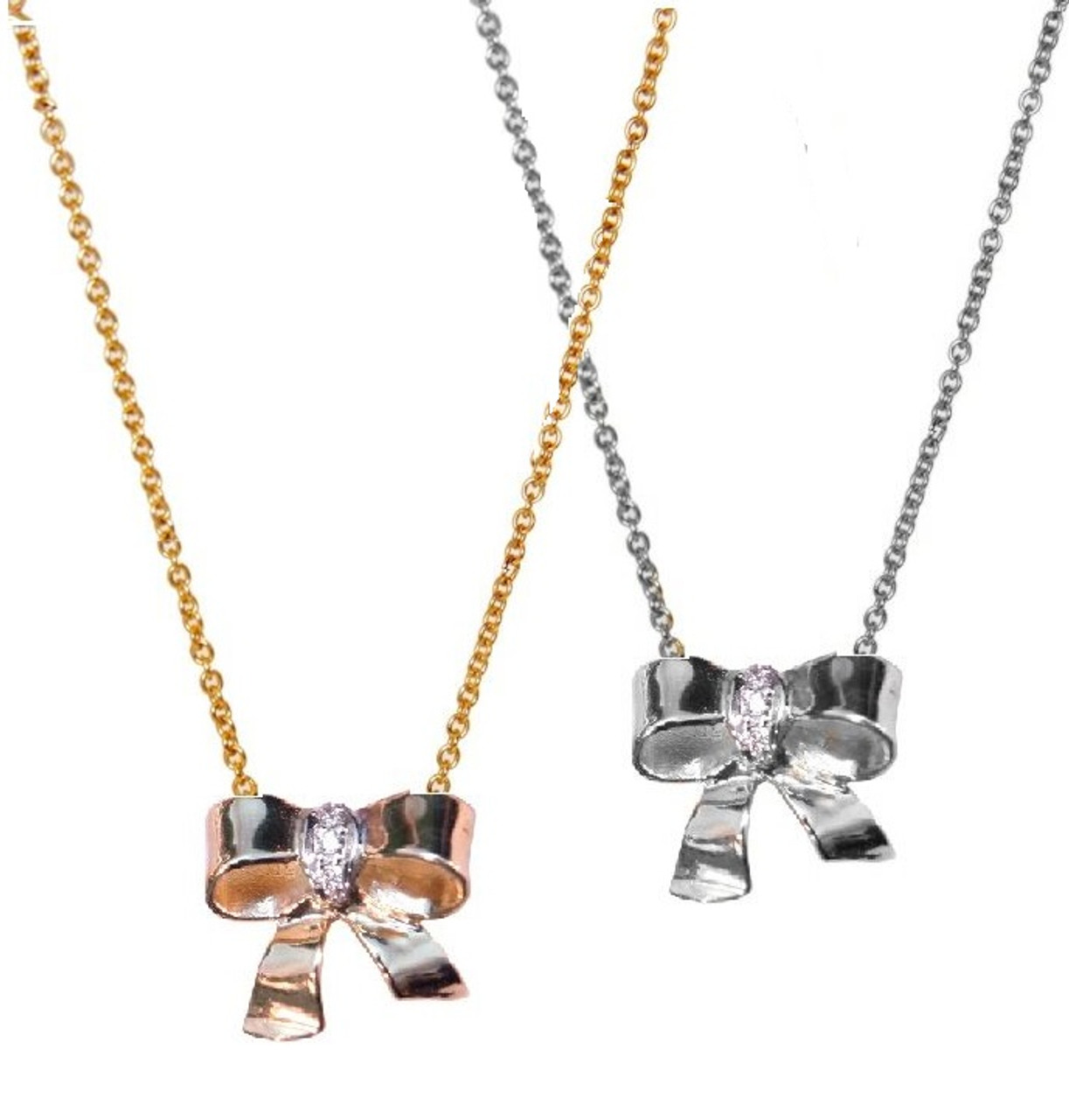 Bow Necklace Sterling And Diamonds Jane A Gordon Jewelry