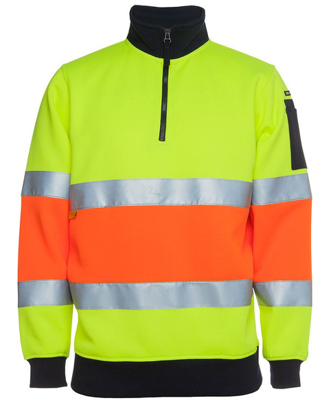 6HZFS - JB's Hi Vis 1/2 Zip (D+N) Fleecy Sweat with Reflective Tape