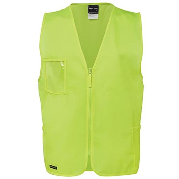 6HVSZ - JB's Hi Vis Zip Safety Vest - Lime