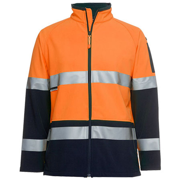 6D4LJ - JBs Hi Vis D+N Softshell Jacket - Orange-Navy