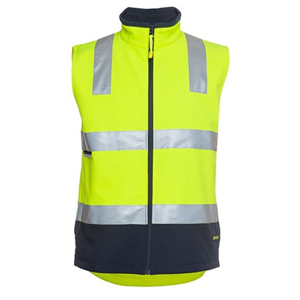 6D4LK - JBs Hi Vis D+N Softshell Vest - Lime/Navy