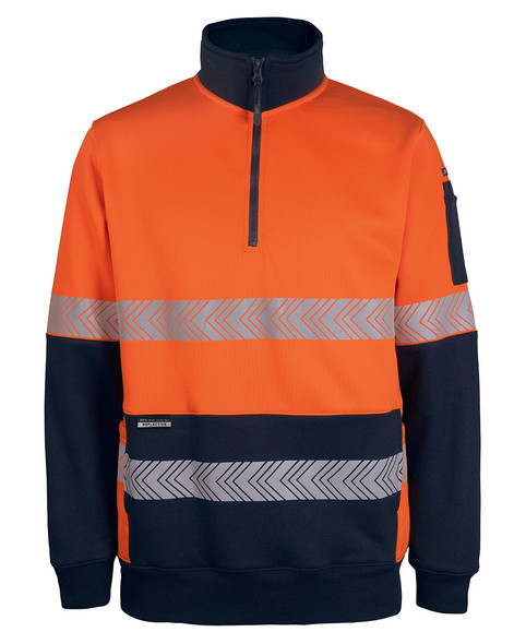6DPS - Hi Vis 330g 1/2 Zip Segmented Tape Fleece