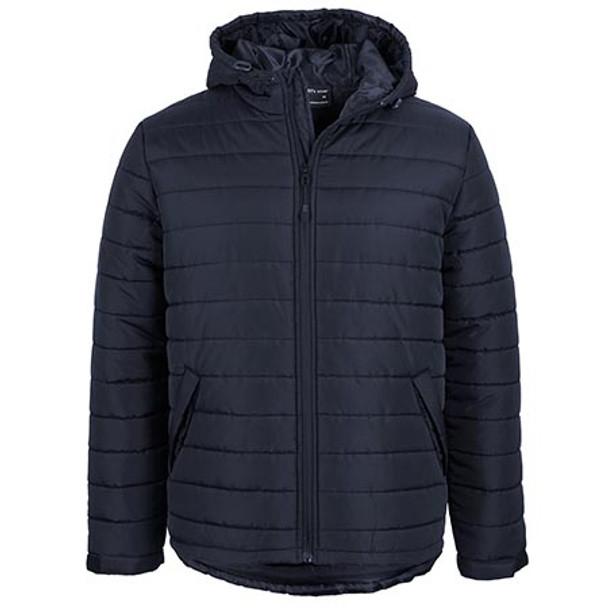 Navy - 3AHJ Hooded Puffer Jacket - JBs Wear