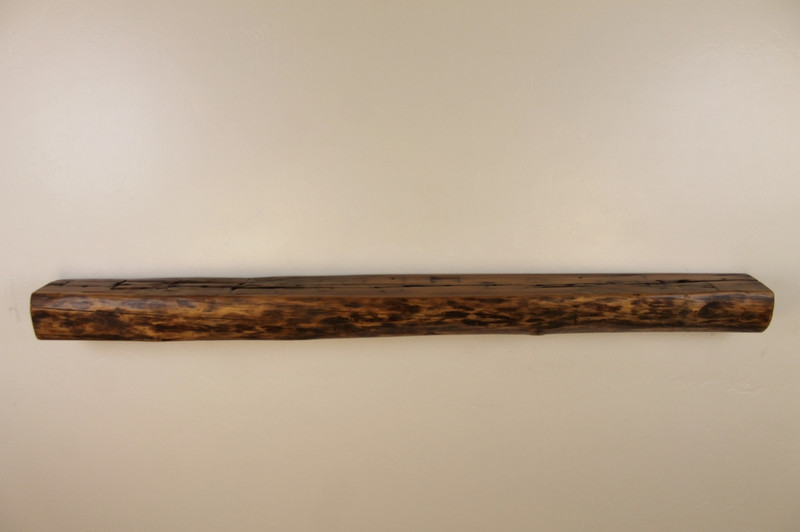 "1885 - 66"" x 6"" deep x 4.25"" h, Reclaimed Floating Mantel, Live Edge, Smooth Top, 1800's"