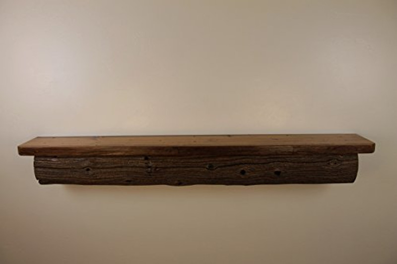 "1833 69"" W x 10"" D x 9"" H, Reclaimed Floating Wood Mantel, Shelf, Gnarly Cedar, Live Edge, Smooth Top, Old Growth, Weathered"