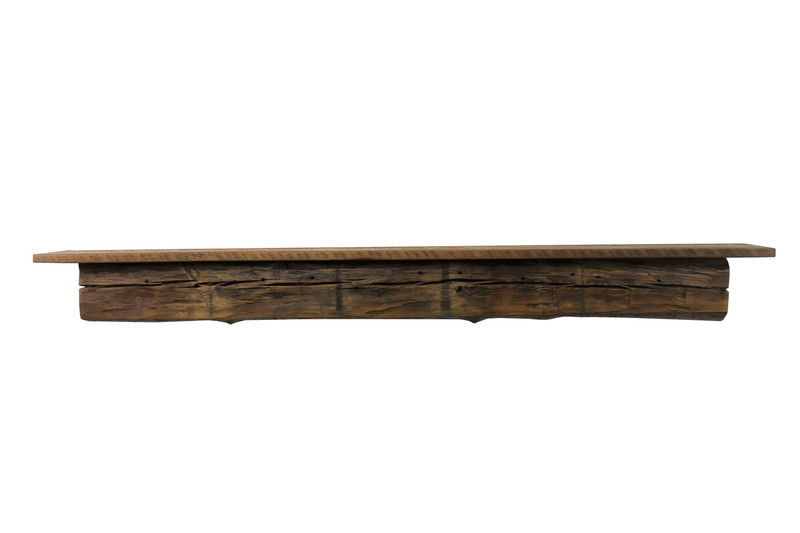 "2119 - Reclaimed Pine Floating Mantel Shelf, 7""x7.5""x66"", Chunky, Antique, 1800's"