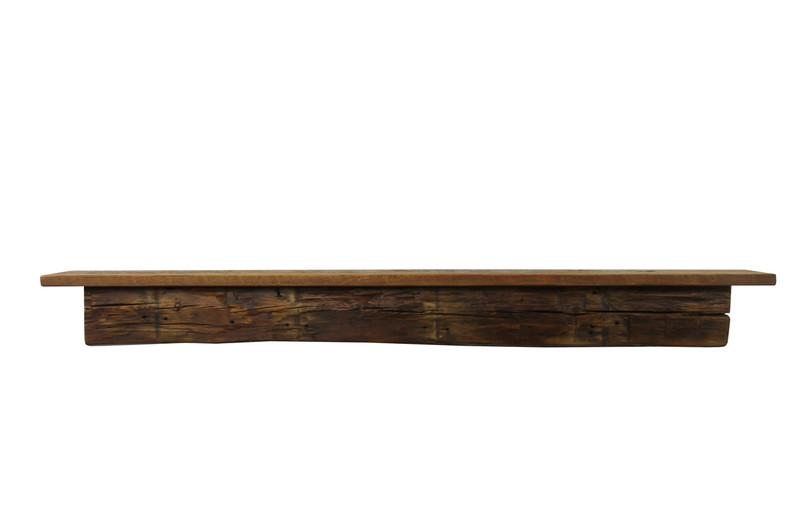 "2123 - Joel's Antiques, 60"" W x 6.5"" D x 6.25"" H, Reclaimed Floating Wood Mantel, Shelf, Pine, Antique, Vintage, Two Piece"
