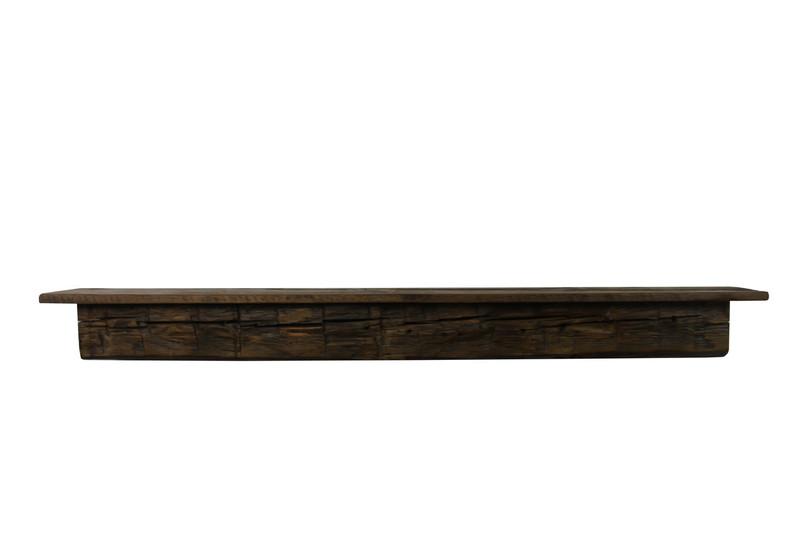 "2126 - Joel's Antiques, 59"" W x 7"" D x 5.5"" H, Reclaimed Floating Wood Mantel, Shelf, Pine, Antique, Vintage, Two Piece"