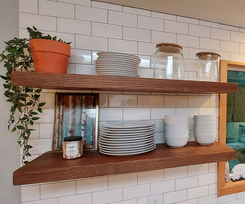 """Floating, Rustic, Wood Shelf, Pine, Dishes, Books, Open Shelving, Heavy Duty 2"""" Thick x 12"""" Deep, Various Colors and Sizes"""