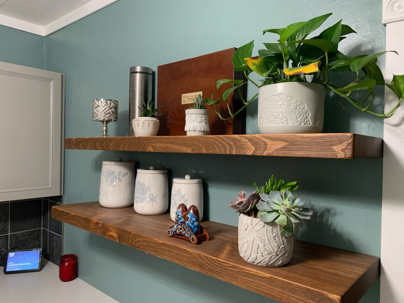 """""""Floating, Rustic, Wood Shelf, Pine, Dishes, Books, Open Shelving, Heavy Duty, 2"""" x 10"""", Various Widths and Colors"""""""