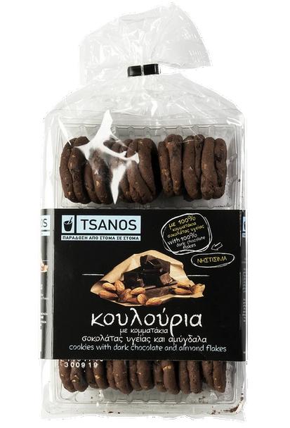 Dark Chocolate Cookies with Almond Flakes Tsanos (300g)