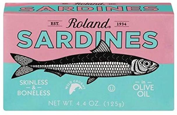 Sardines Skinless & Boneless in Olive Oil Roland (4.4oz)