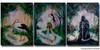 Women's Stork-Golfer-Reaper Original Acrylic Paintings