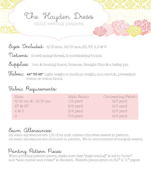 HAYDEN DRESS PDF Sewing Pattern & Tutorial