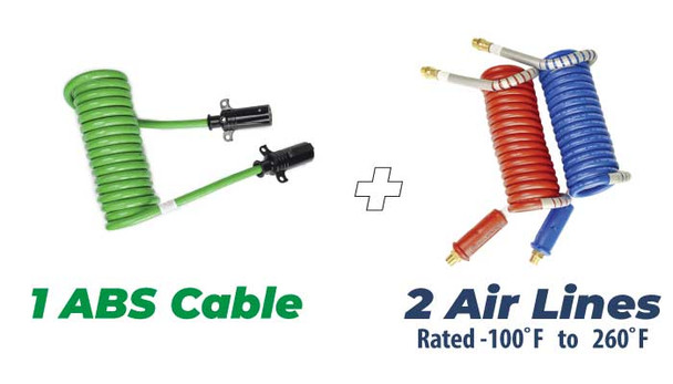 Stallion Set Red & Blue 15' working length Air Lines combined with 15' working length ABS 7 Way Cable.