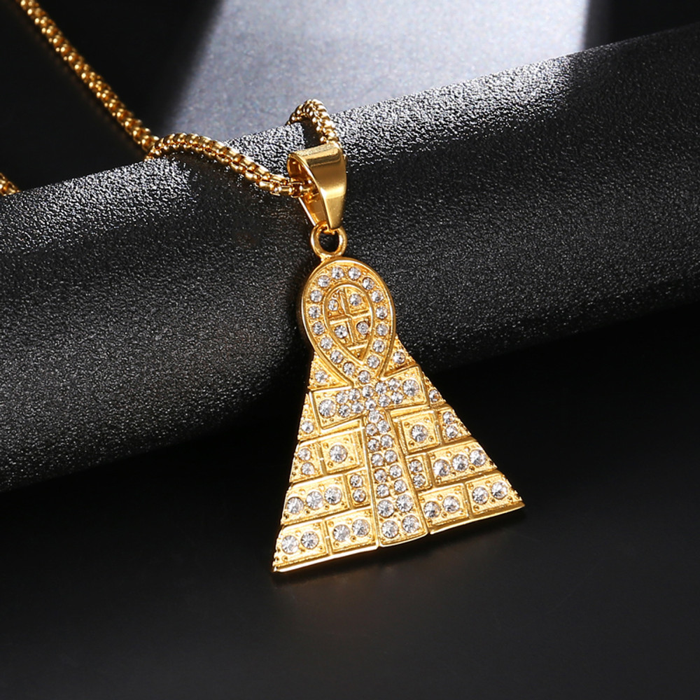 14k Gold Pyramid Of Giza Ankh Cross Egyptian Pendant