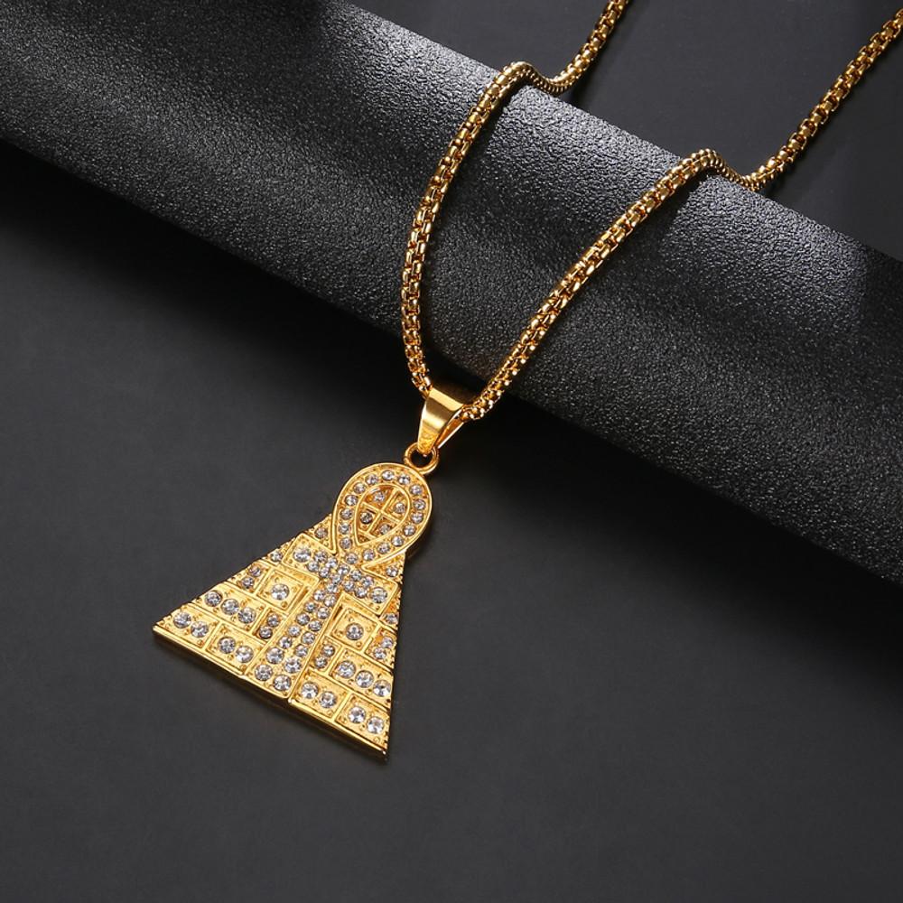 14k Gold Pyramid Of Giza Ankh Cross Egyptian Pendant Chain