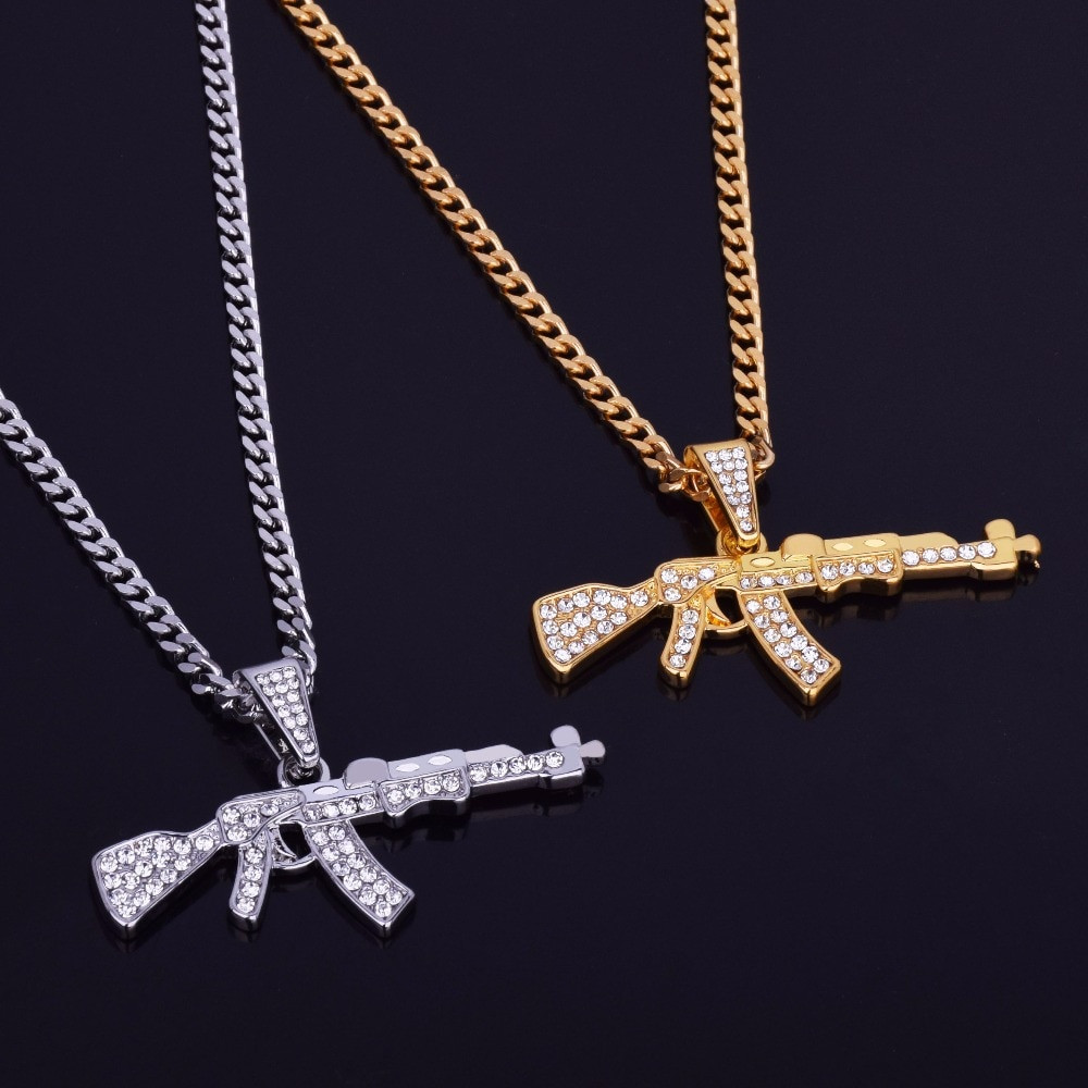 09497f7ded Mens Chopper Ak-47 Hip Hop Pendant   Chain Necklace Gold Silver ...