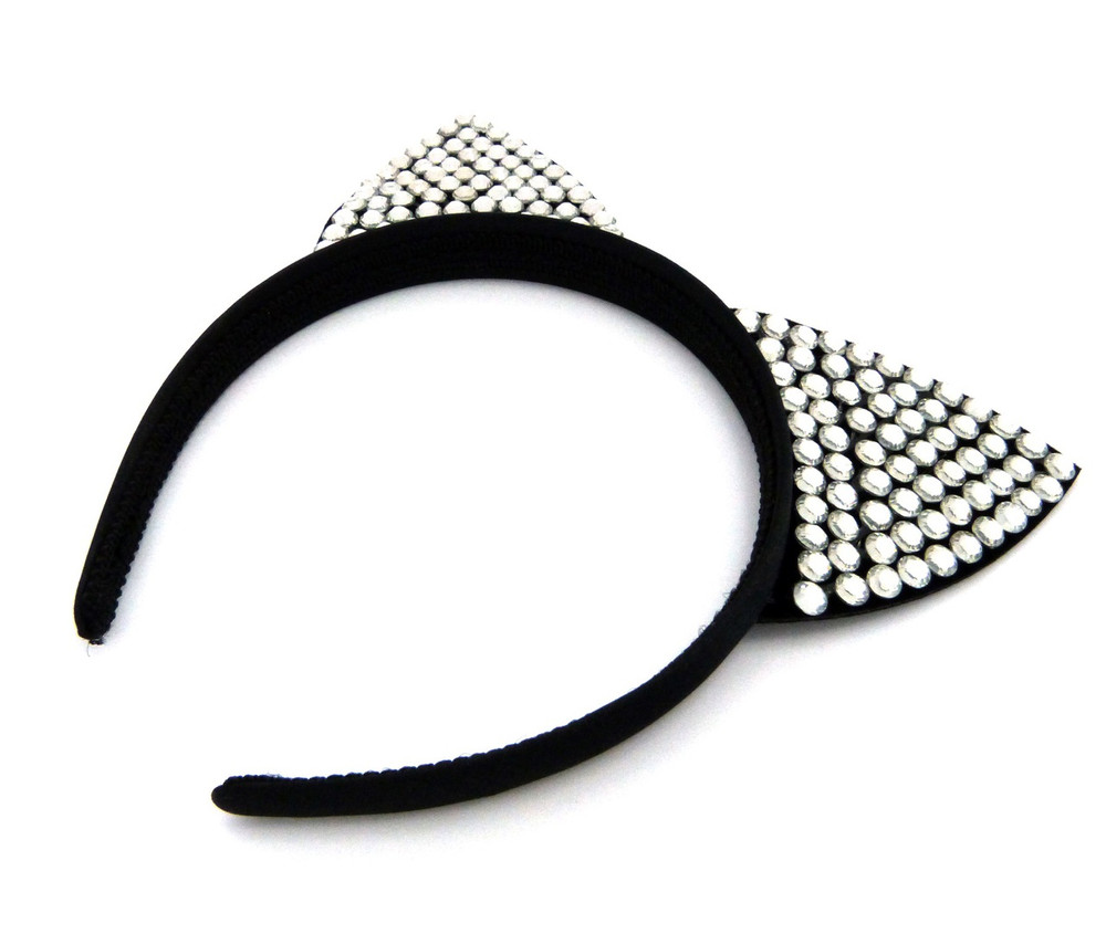 Ladies Rhinestone Sexy Pussy Cat Ears Headband