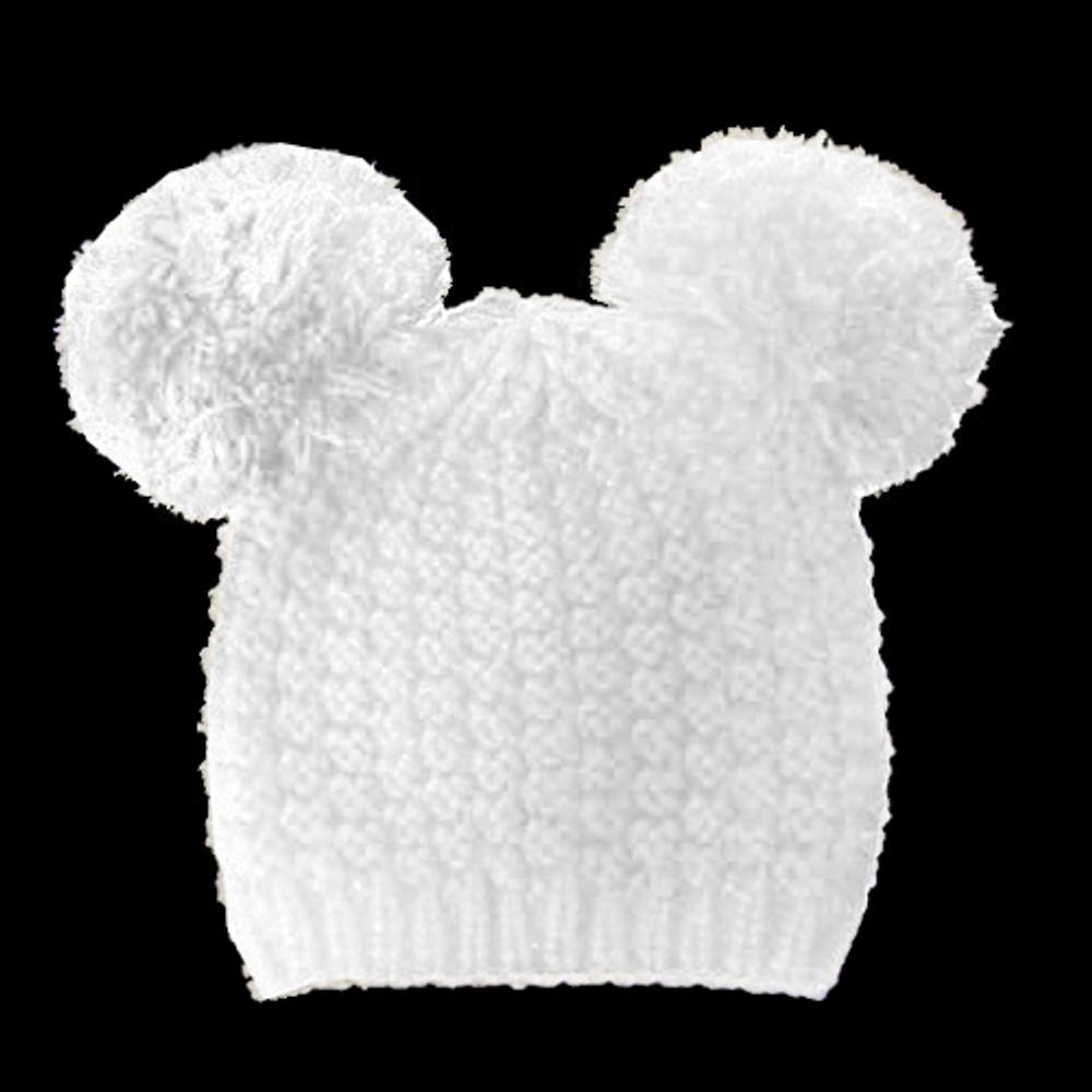 Fuzzy Cat Mouse Pom Pom Ball Beanie Hat White