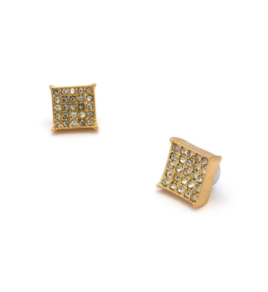 "Mens Bling Kite Cut Diamond Cz Magnetized Earrings 0.4"" Gold"