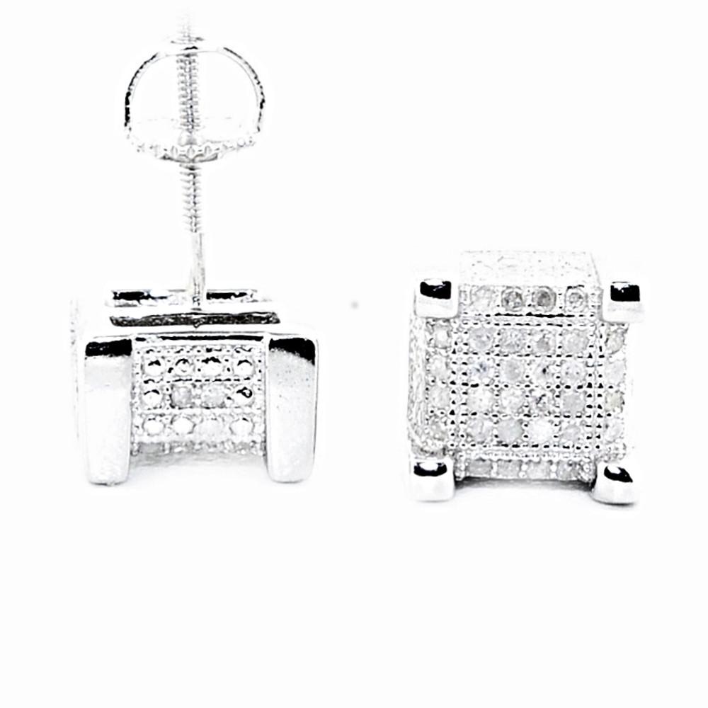 Mens Hip Hop 0.3CTTW Diamond Cube Earrings Silver Bling Earrings