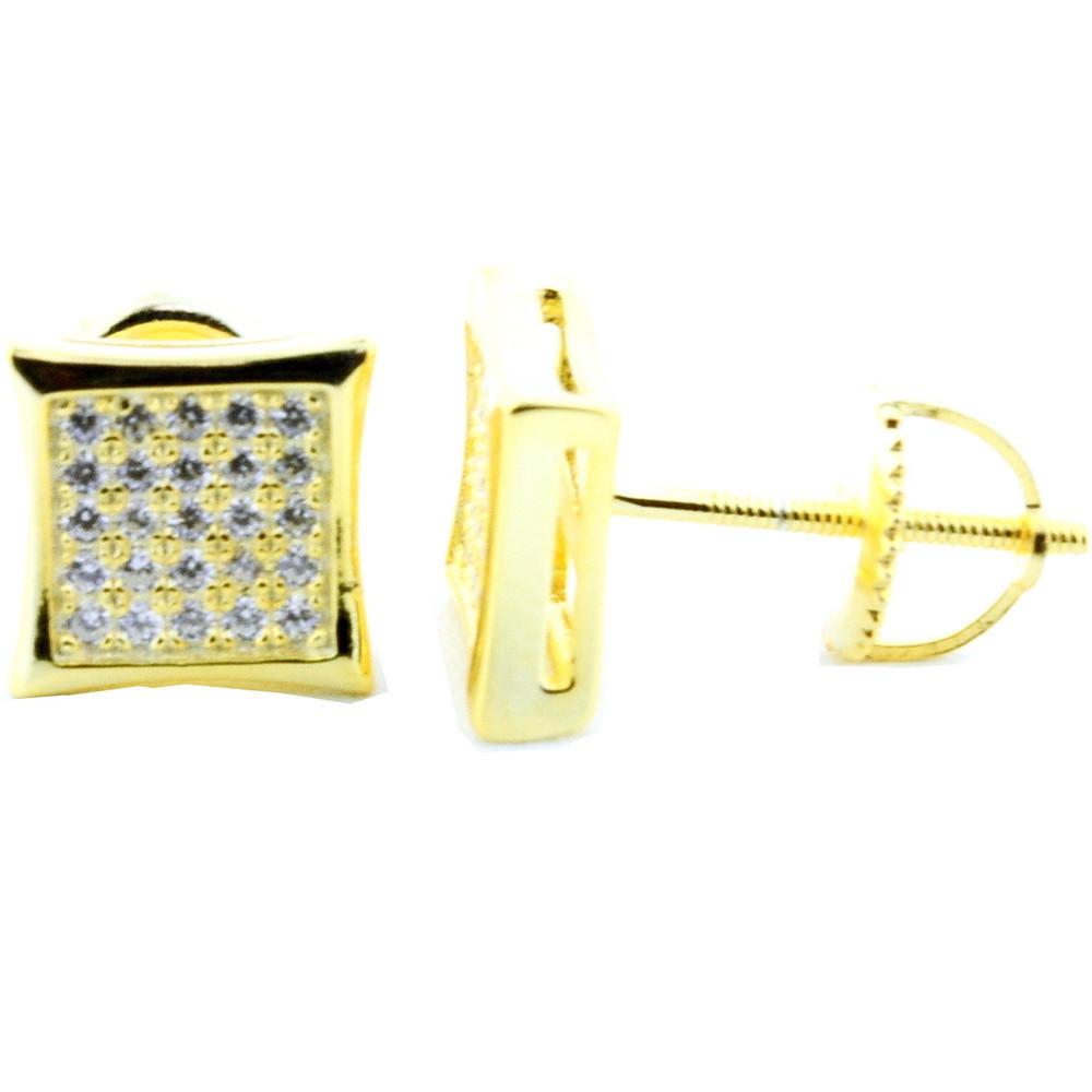 Mens .925 Sterling Silver Silver Kite 8mm Wide Earrings
