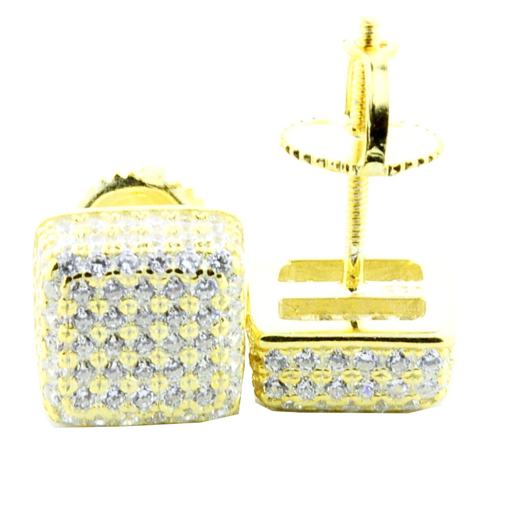 Mens Bling Bling 925 Silver Dice Cube 8mm Cz Pave Earrings