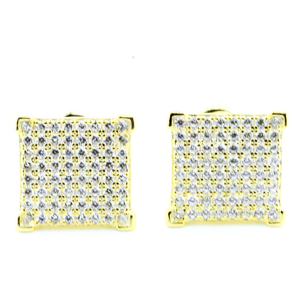 Mens 9mm Iced Out Cz Stone Bling 925 Yellow Silver Earrings