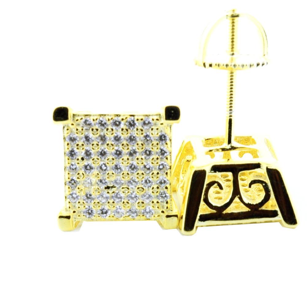 Mens Princess Cut 10mm Wide Yellow Silver Diamond Cz Earrings