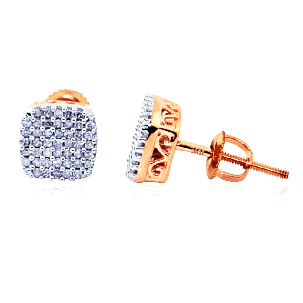 Mens 10K 1/5 cttw Rose Gold Diamond Cluster Earrings