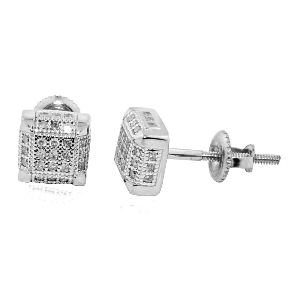 10K White Gold 0.18CTTW Diamond Stud Earrings 6.23mm
