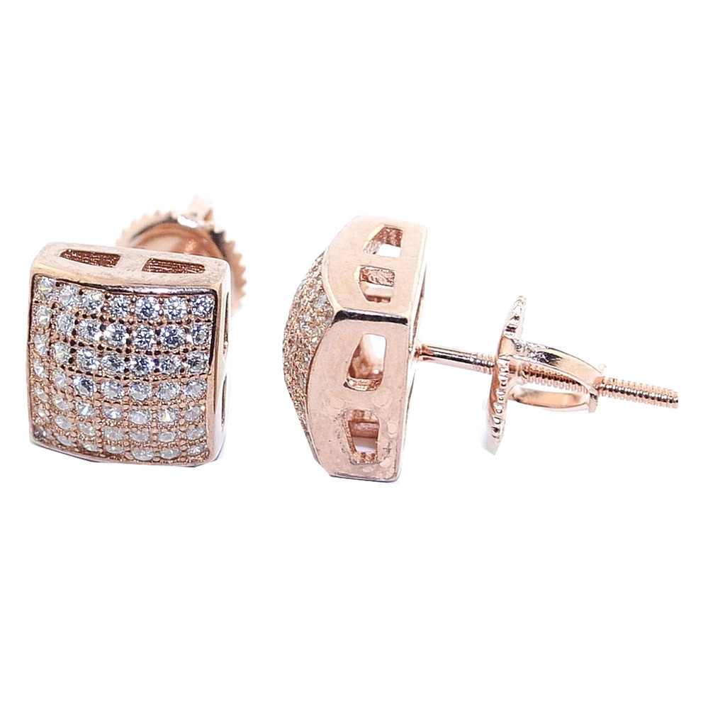 Iced Out Rose Gold Tone CZ Silver Earrings 8.5mm Wide