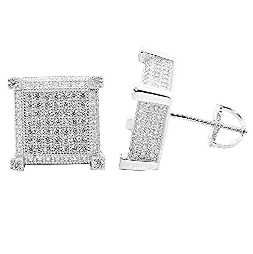 Bling Bling 12mm Sterling Silver Stud Cube Earrings Threaded Post
